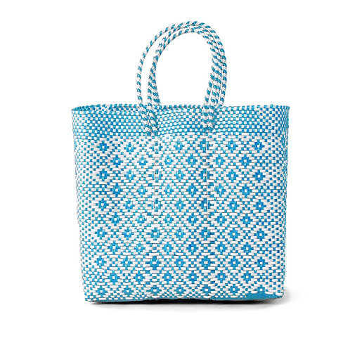 Light Blue + White Poolside Tote, Medium