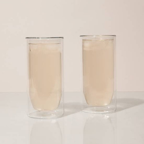16 oz Double-Wall Clear Glass, Set of 2
