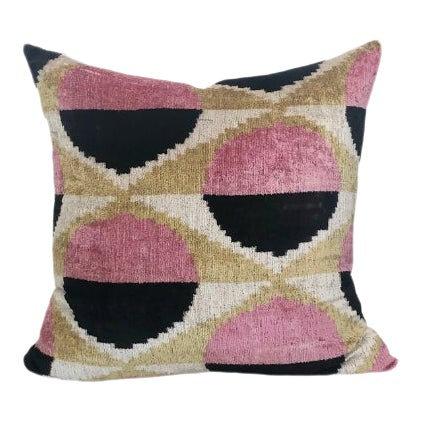 Modern Circles Pink and Black Pillow