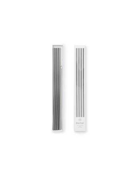 "Porter 10"" Metal Straws, Set of 4 with Cleaner, Silver"