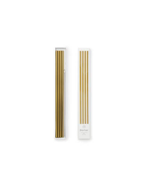 """Porter 10"""" Metal Straws, Set of 4 with Cleaner, Gold"""