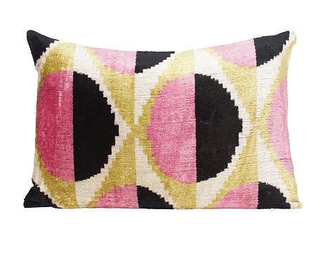 Modern Circles Pink and Black Lumbar