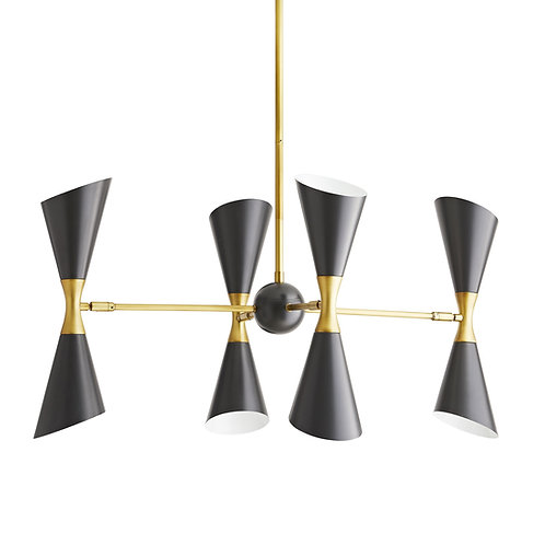 Fuentes Chandelier, Black + Antique Brass