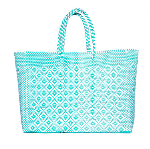 Mint + White Poolside Tote, Large