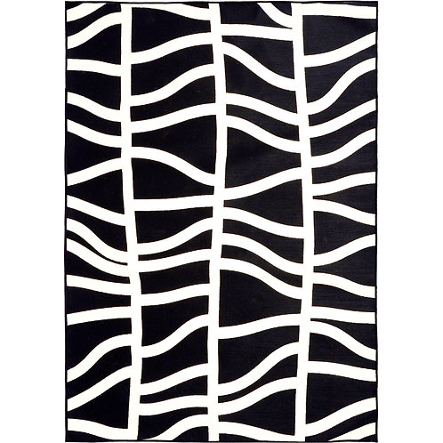 Black + White Wavy Lines Indoor/Outdoor Rug, 5x8