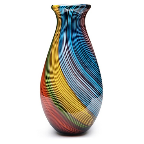 Rainbow Twist Glass Vase 12""