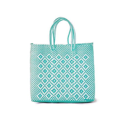 Mint + White Poolside Tote