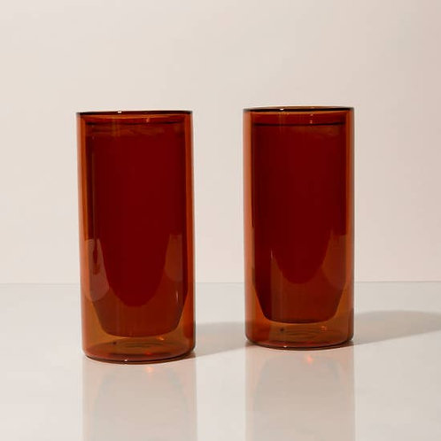 Preorder - 16 oz Double-Wall Amber Glass Set