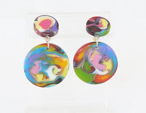 Multi-Color Disk on Stud Earring