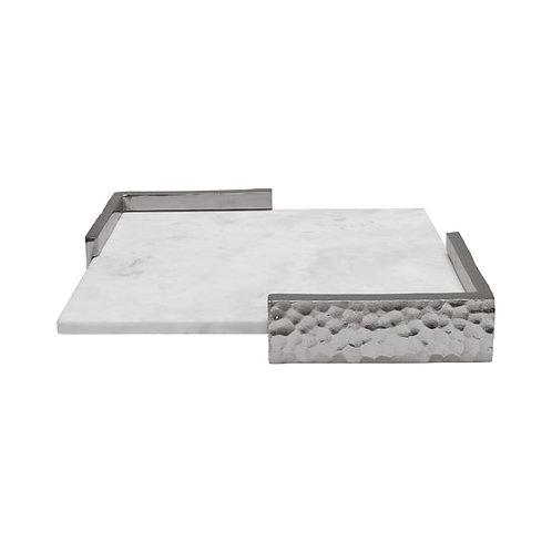 Alton Marble Decorative Tray, Nickel