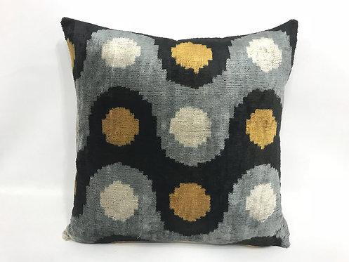 Wavy Dots Ochra + Black Pillow
