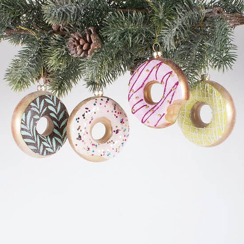 Donut Ornaments, Set of 4 - Gift Boxed