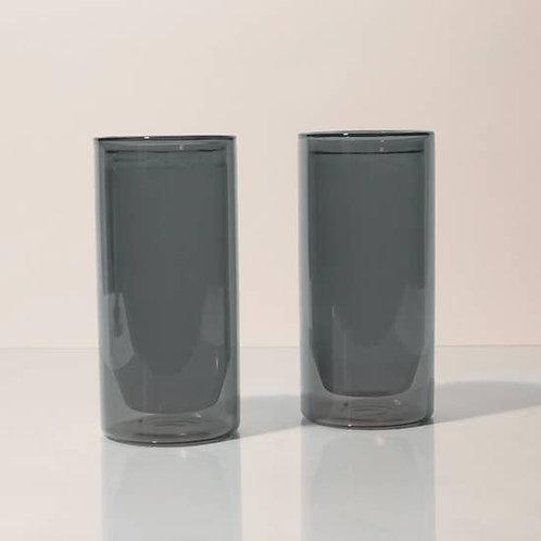 Preorder - 16 oz Double-Wall Gray Glass Set