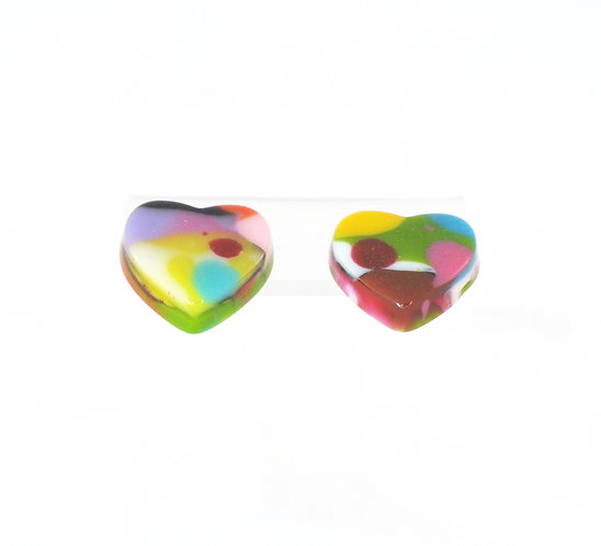 Multi-Color Heart on Stud Earring