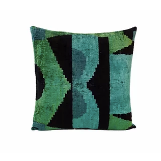Tiki Black and Green Pillow