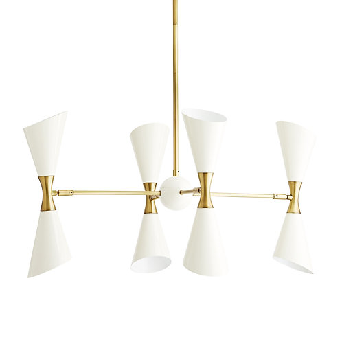 Fuentes Chandelier, White + Antique Brass