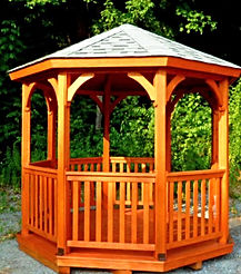 stained wooden gazebo