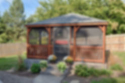 Wooden stained gazebo