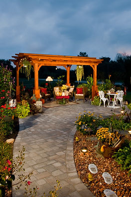 wooden stained pergola