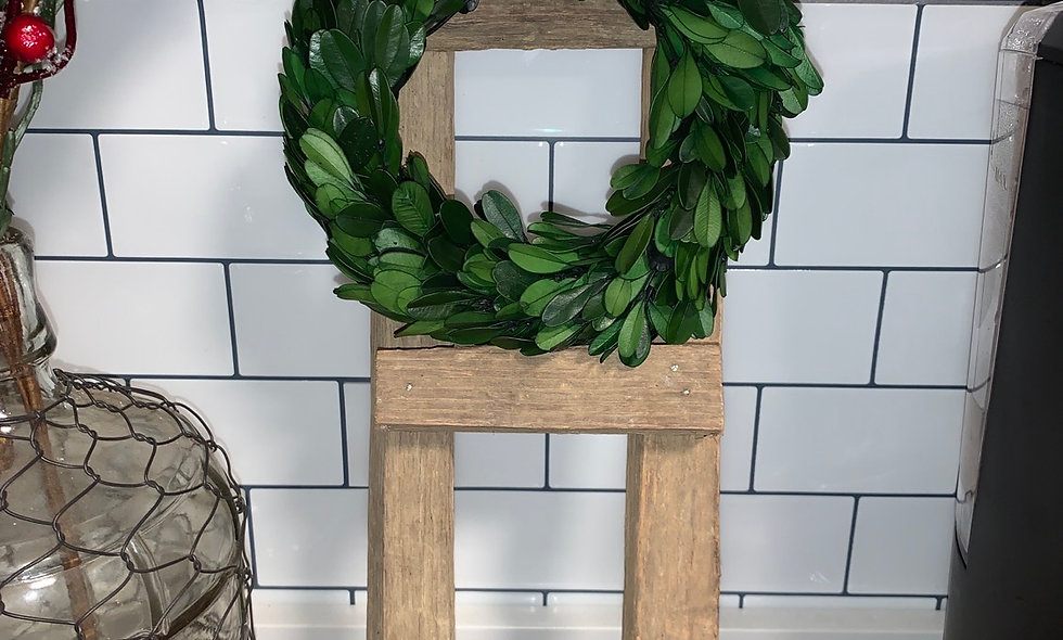 Tobacco Stick ladder with Preserved Boxwood Wreath