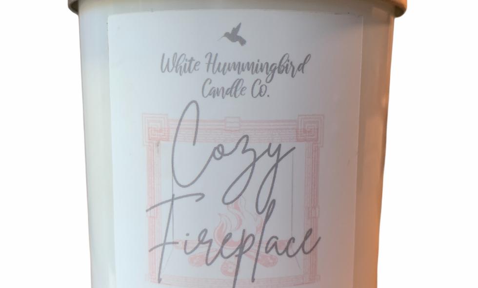 Cozy Fireplace 10 oz Matte White Jar