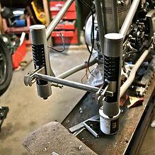 stainless plunger setup Harley custom frame