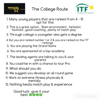 YOU can play ! what is next ITF circuit or College in the USA