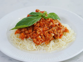 Sojafärssås med glutenfri spaghetti