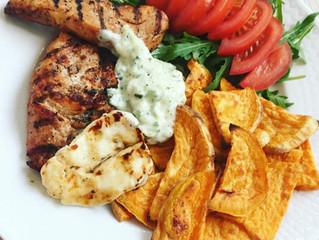 Kyckling med sötpotatis och tzatziki