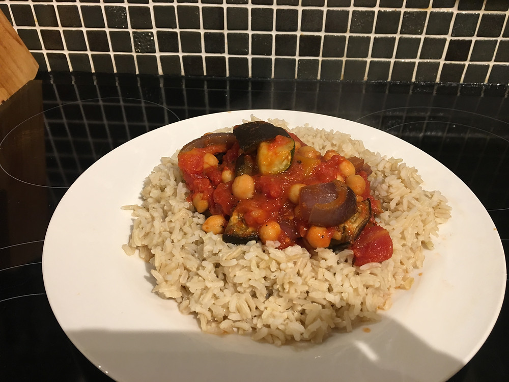Roasted Vegetable and Chickpea Stew with brown rice