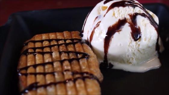 Cookie Dough Eggroll & Ice Cream
