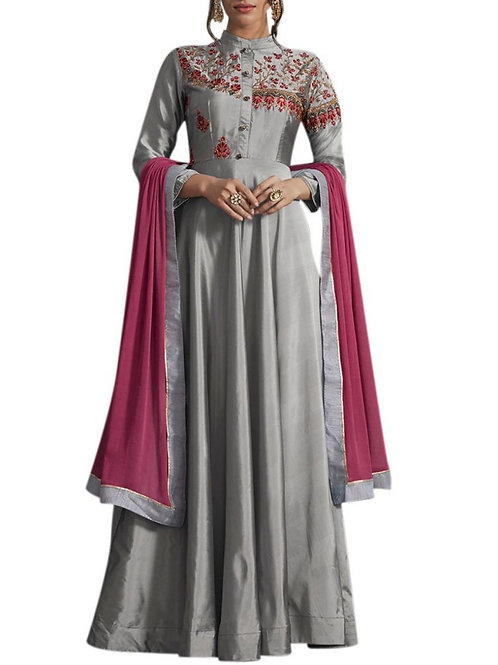 Majestic Grey Color Classy Gown Design