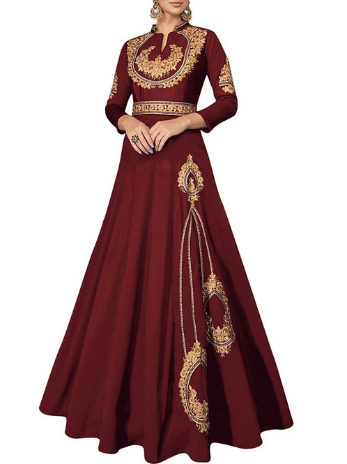 Astonishing Maroon Color Bridal Gowns