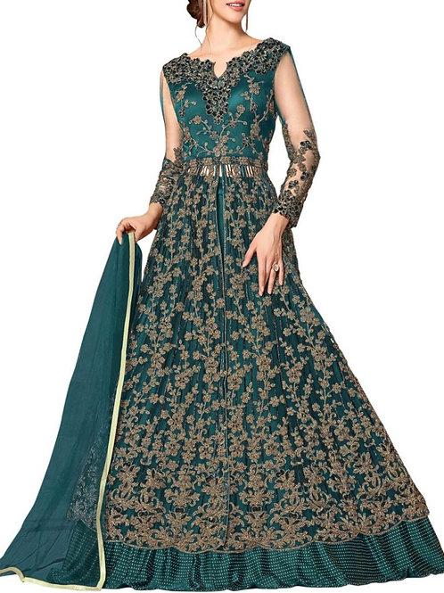 Pleasant Cyan Prom Anarkali Gown