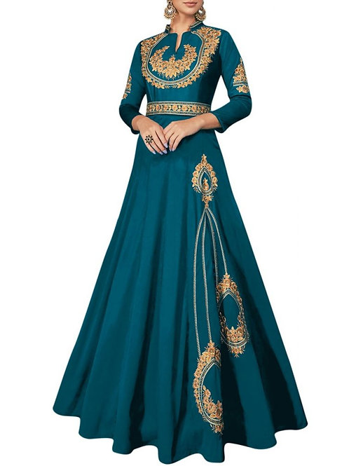 Alluring Teal Blue Color Formal Gowns