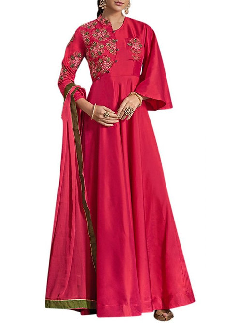 Fascinating Rani Pink Color Cocktail Gown