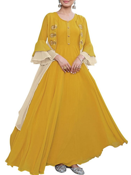 Mustard Yellow Color Georgette Floor Length Gown