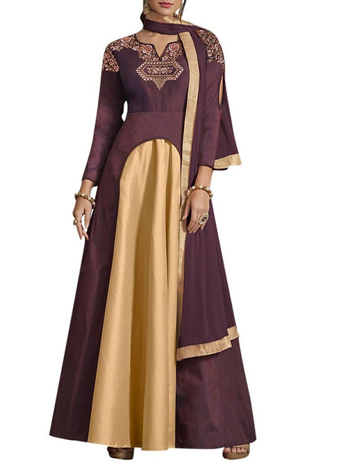 Presentable Wine Color Latest Fancy Gown