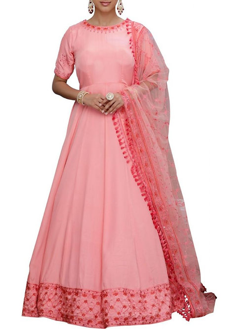 Pretty Light Pink Long Flair Gown