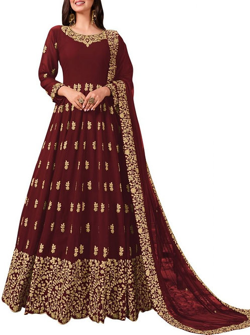Divine Maroon Long Evening Gowns