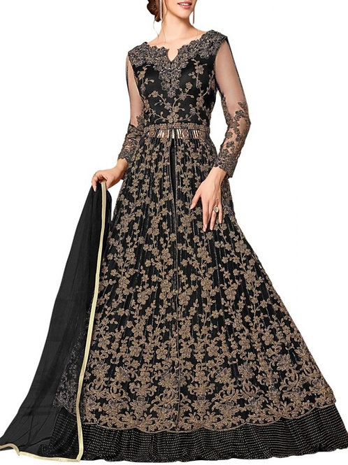 Dreamy Black Homecoming Anarkali Gown