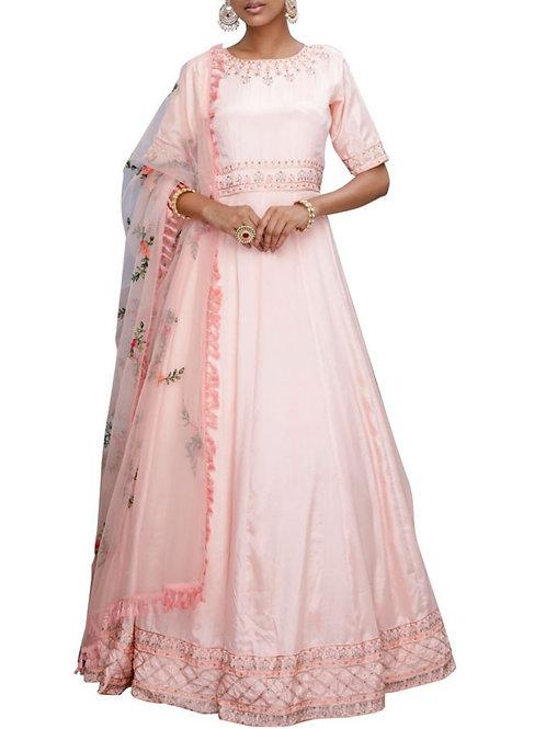 Glamorous Peach Designer Pretty Gown