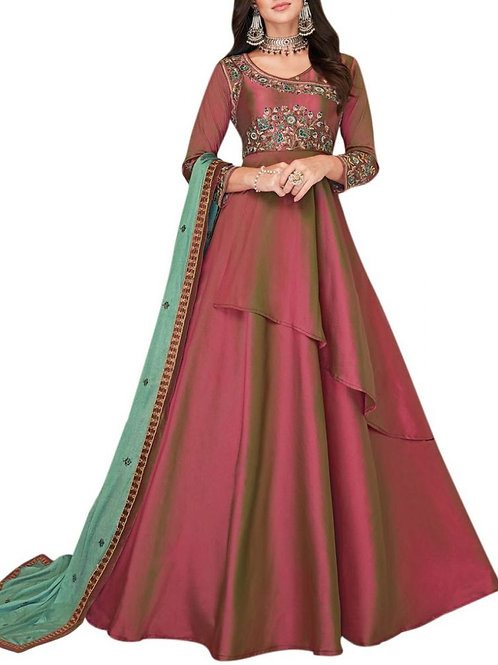 Out Of This World Two Tone Maroon Party Wear Gown