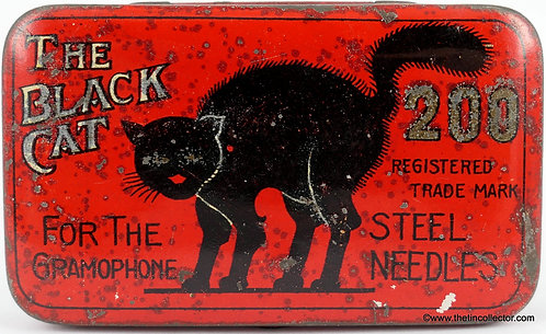 THE BLACK CAT Gramophone Needle Tin