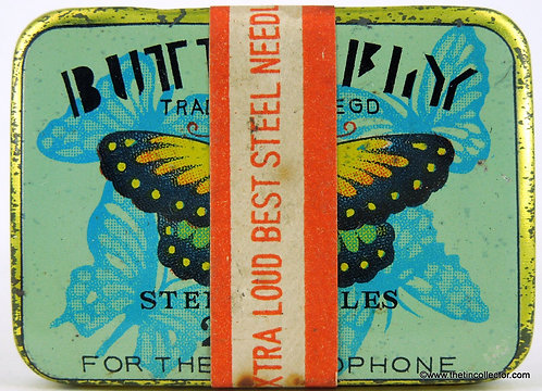 BUTTERFLY Gramophone Needle Tin