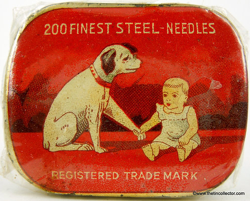 DOG and BABY Gramophone Needle Tin - Factory Sealed