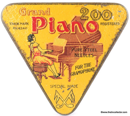 PIANO Gramophone Needle Tin (Short Dress Version)