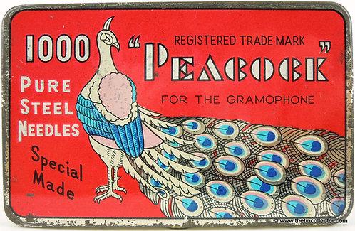 PEACOCK Gramophone Needle tin **LARGE 1000 SIZE**