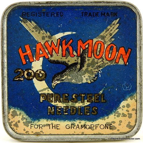 HAWK MOON Gramophone Needle Tin