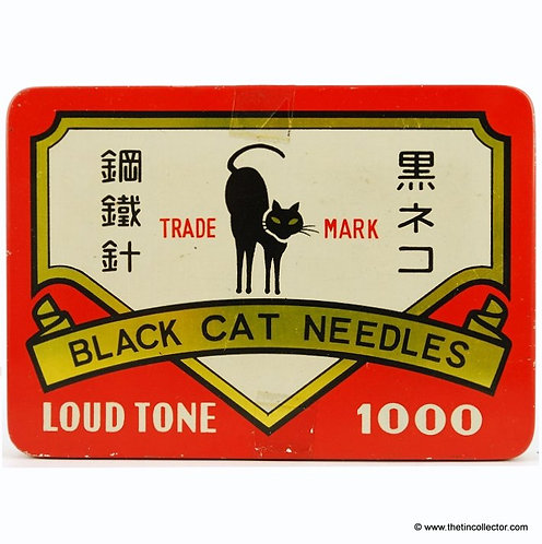 Large 1000 size BLACK CAT Gramophone Needle Tin
